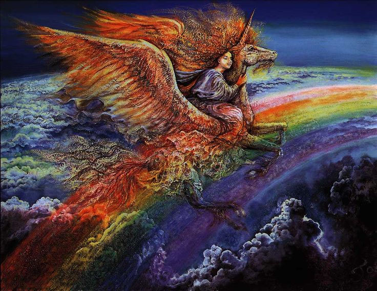 Ирида скачет на единороге по радуге