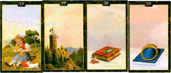 Выкладка Ленорман: Ребенок, Башня, Книга, Кольцо