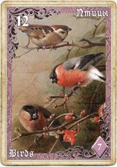 Птицы в колоде Ленорман «Лиловые сумерки»
