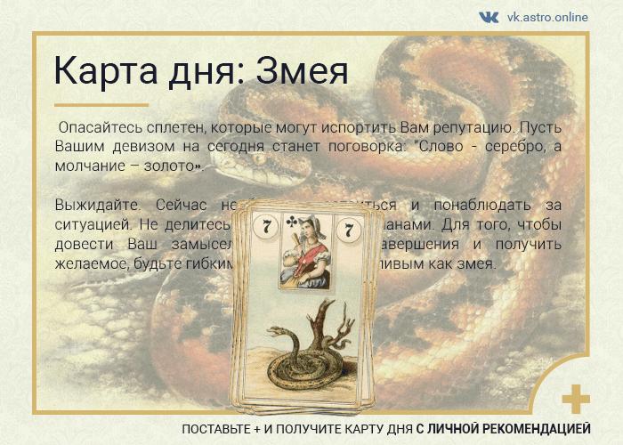Карта дня Ленорман: Змея
