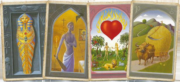Карты Гроб, Плеть, Сердце, Коса в Мистической Ленорман